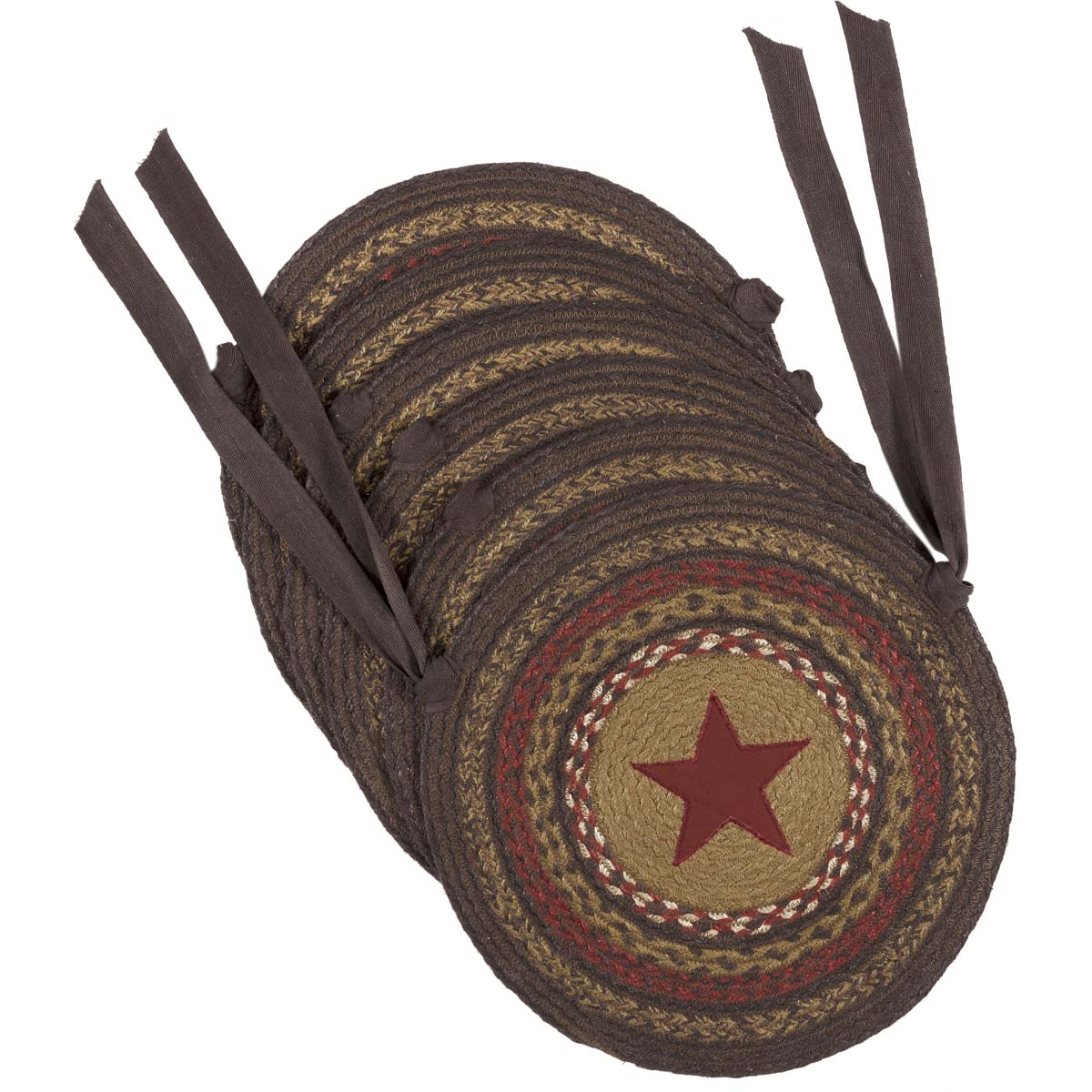 Landon Jute Applique Star Chair Pad Set of 6
