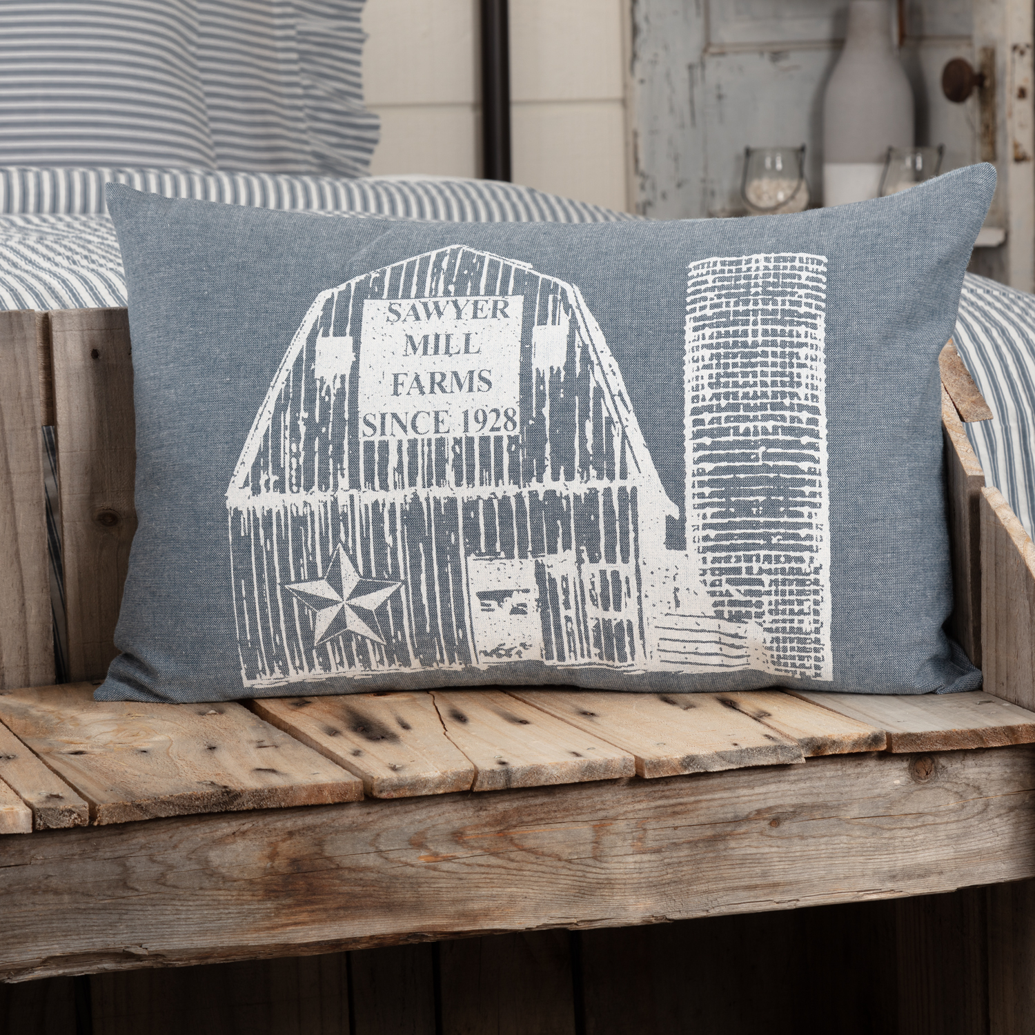 Sawyer Mill Blue Barn Pillow 14x22