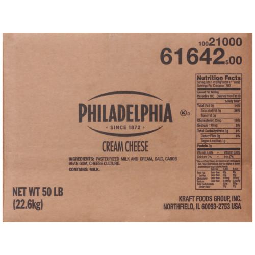 Philadelphia Original Cream Cheese Carton, 50 lb.