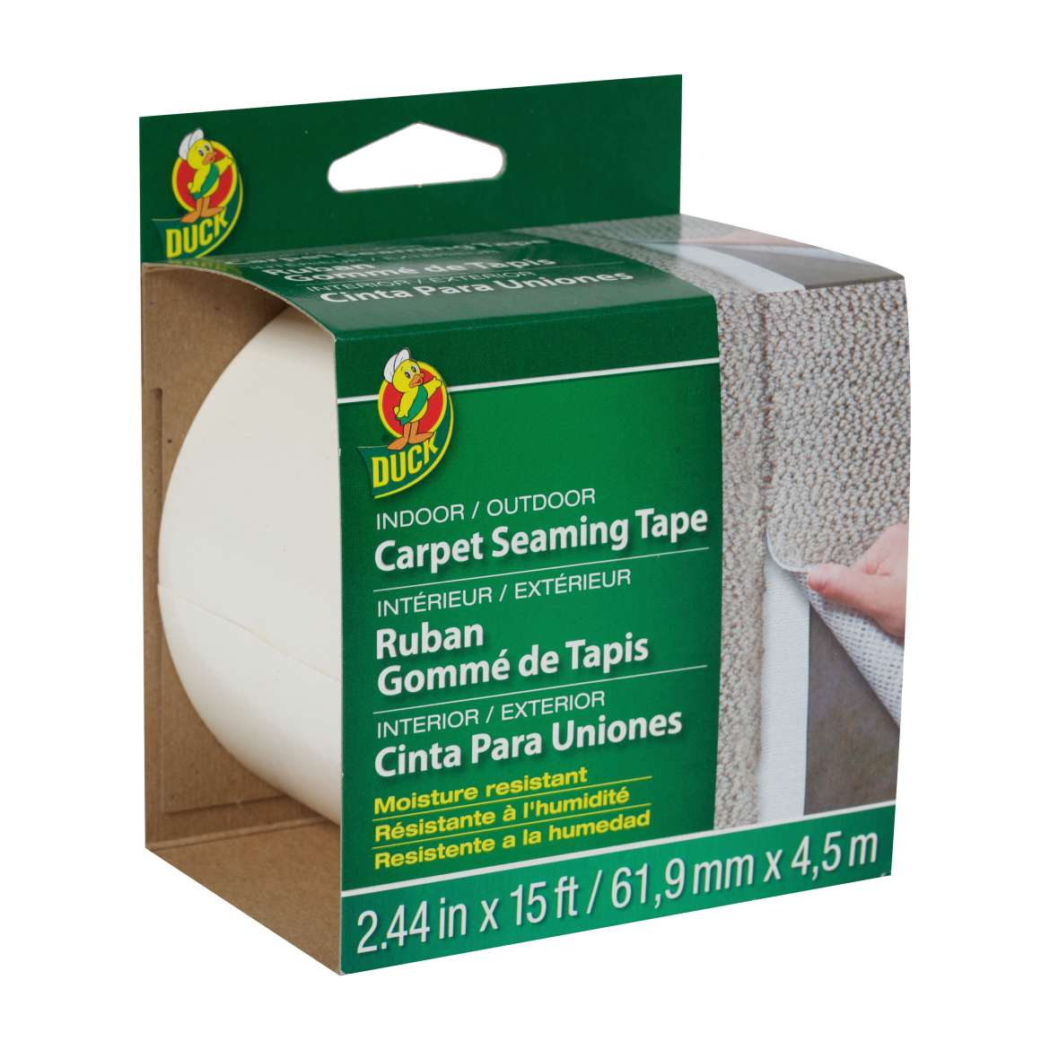 Duck® Brand Indoor/Outdoor Carpet Steaming Tape - White, 2.44 in. x 15 ft. Image
