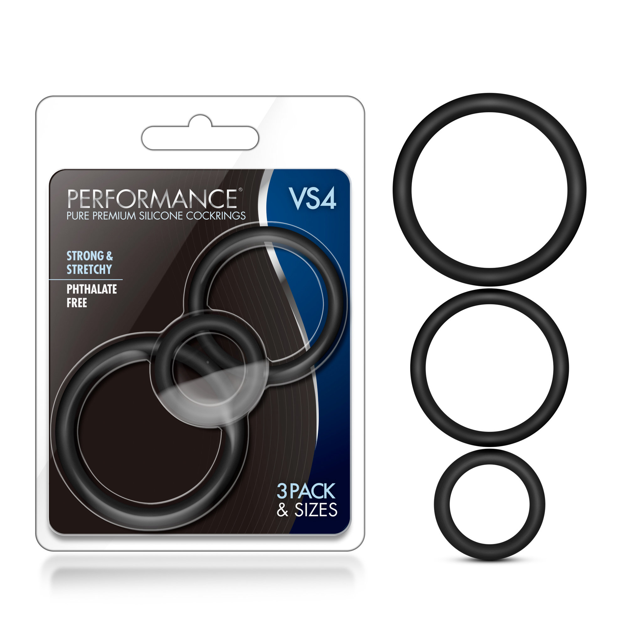 Performance - VS4 Pure Premium Silicone Cock Ring Set - Black