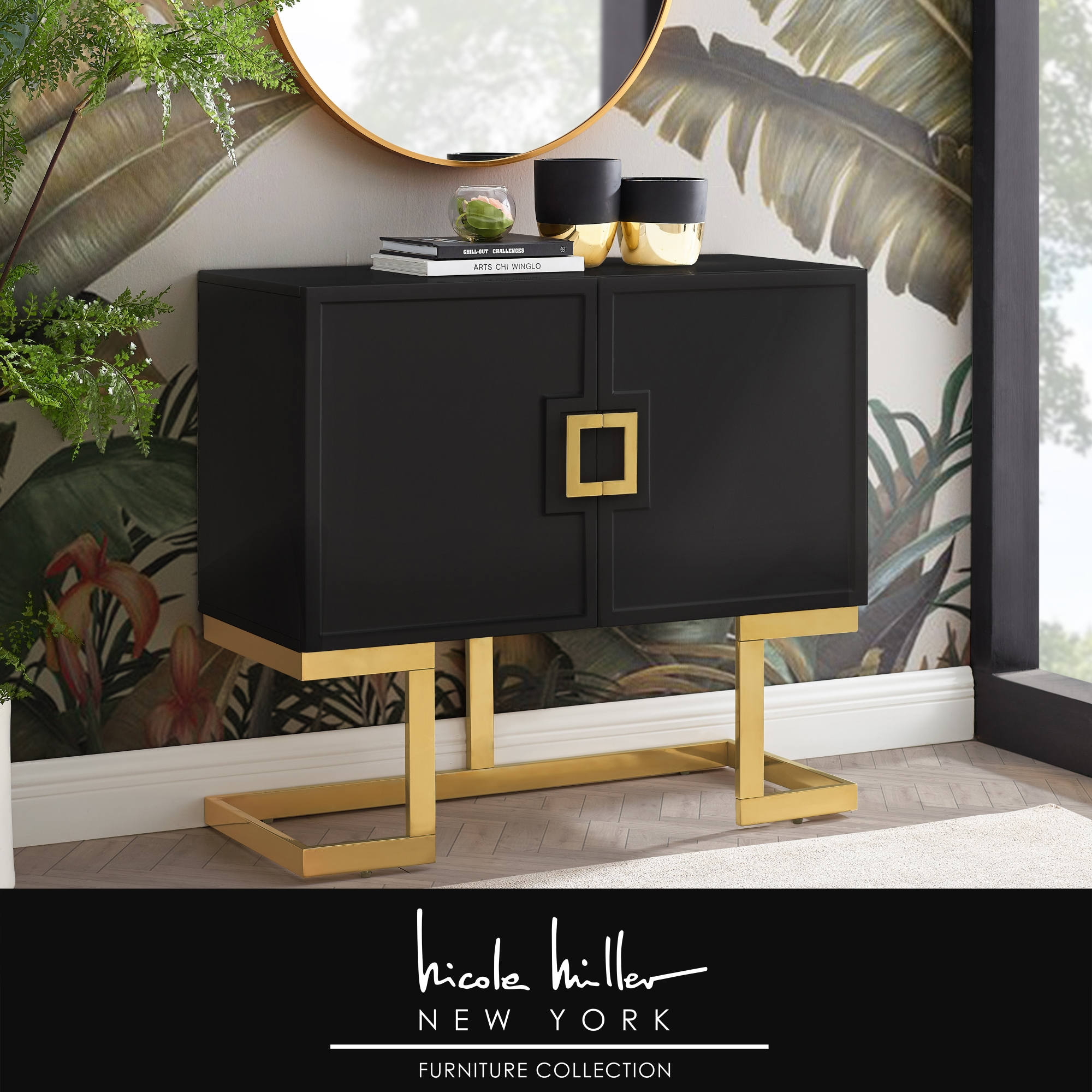 Nicole Miller Black/Gold Cabinet 2 Doors 2 Adjustable Shelves 4 Compartments Hight Gloss Lacquer Finish