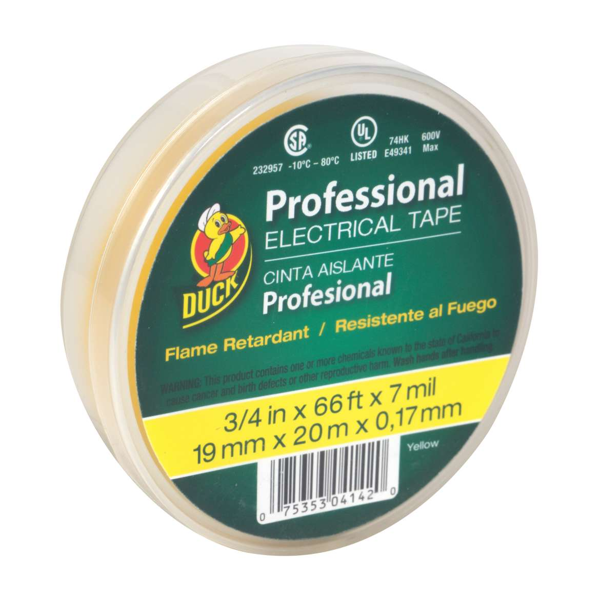 Duck® Brand Professional Electrical Tape Canister Pack - Yellow, .75 in. x 66 ft. x 7 mil. Image