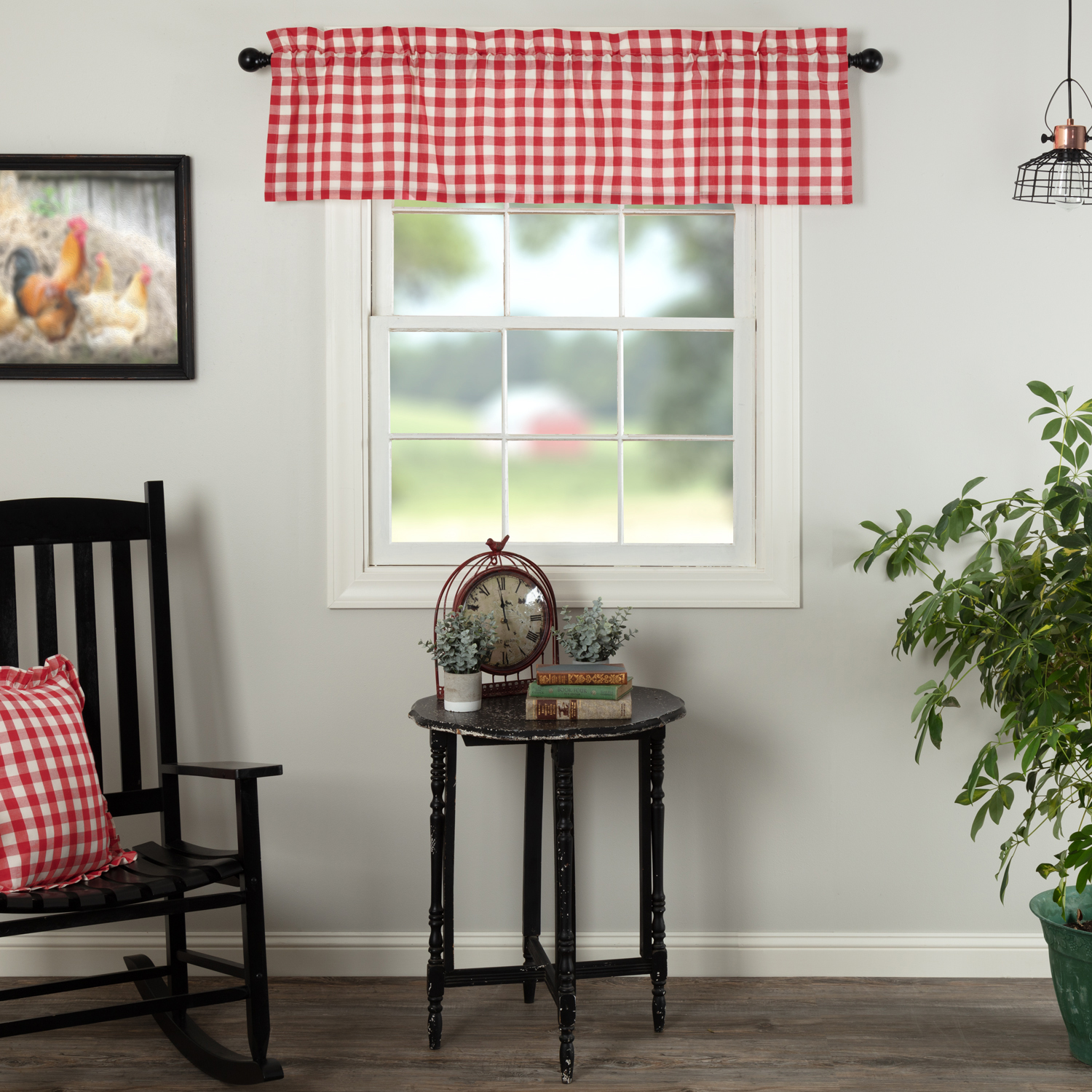 Annie Buffalo Red Check Valance 16x60