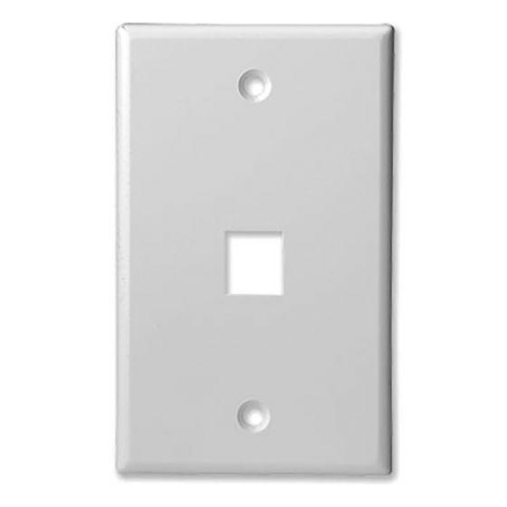 1Port White Keystone Wall Plate Wave Electronics