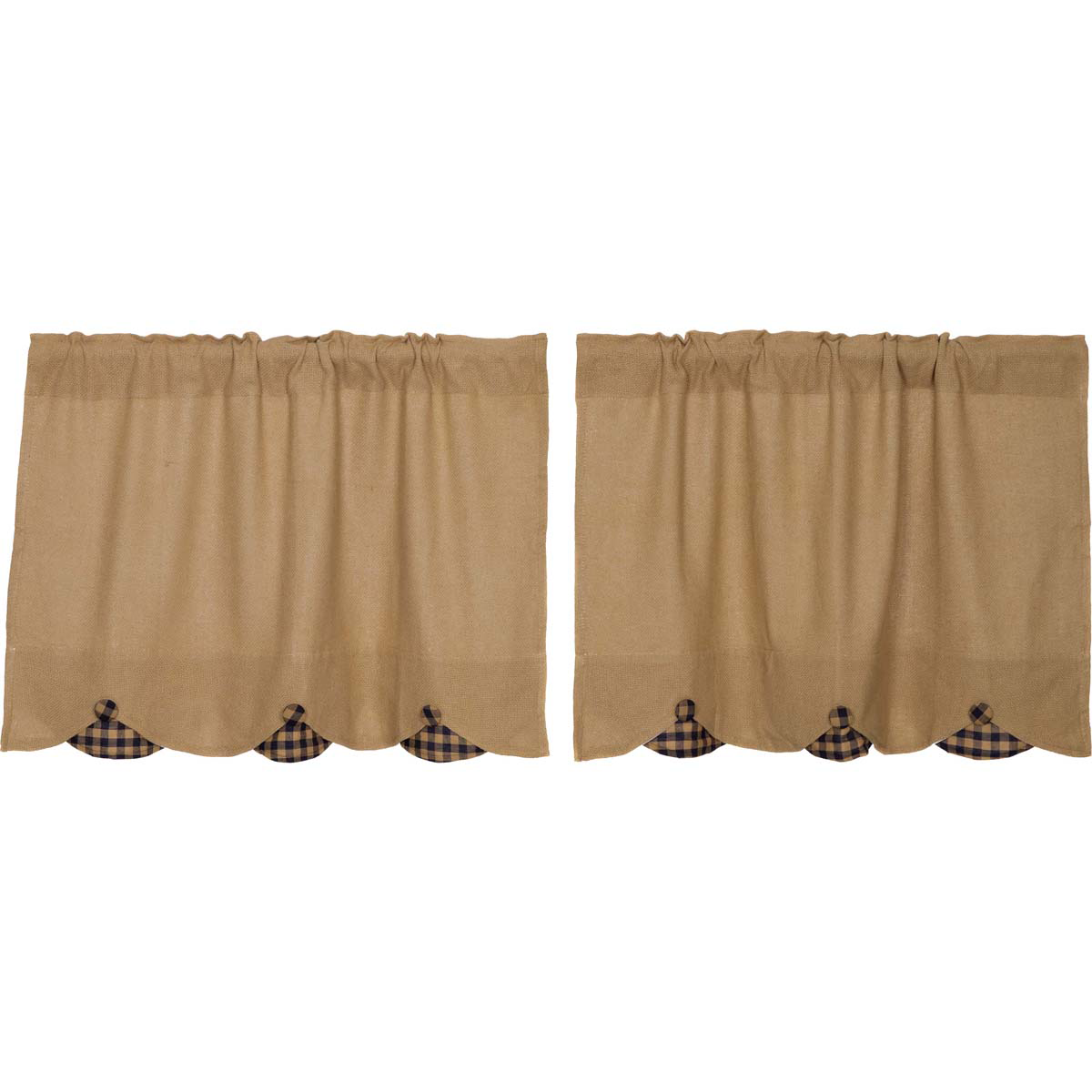 Burlap w/Navy Check Scalloped Tier Set of 2 L24xW36