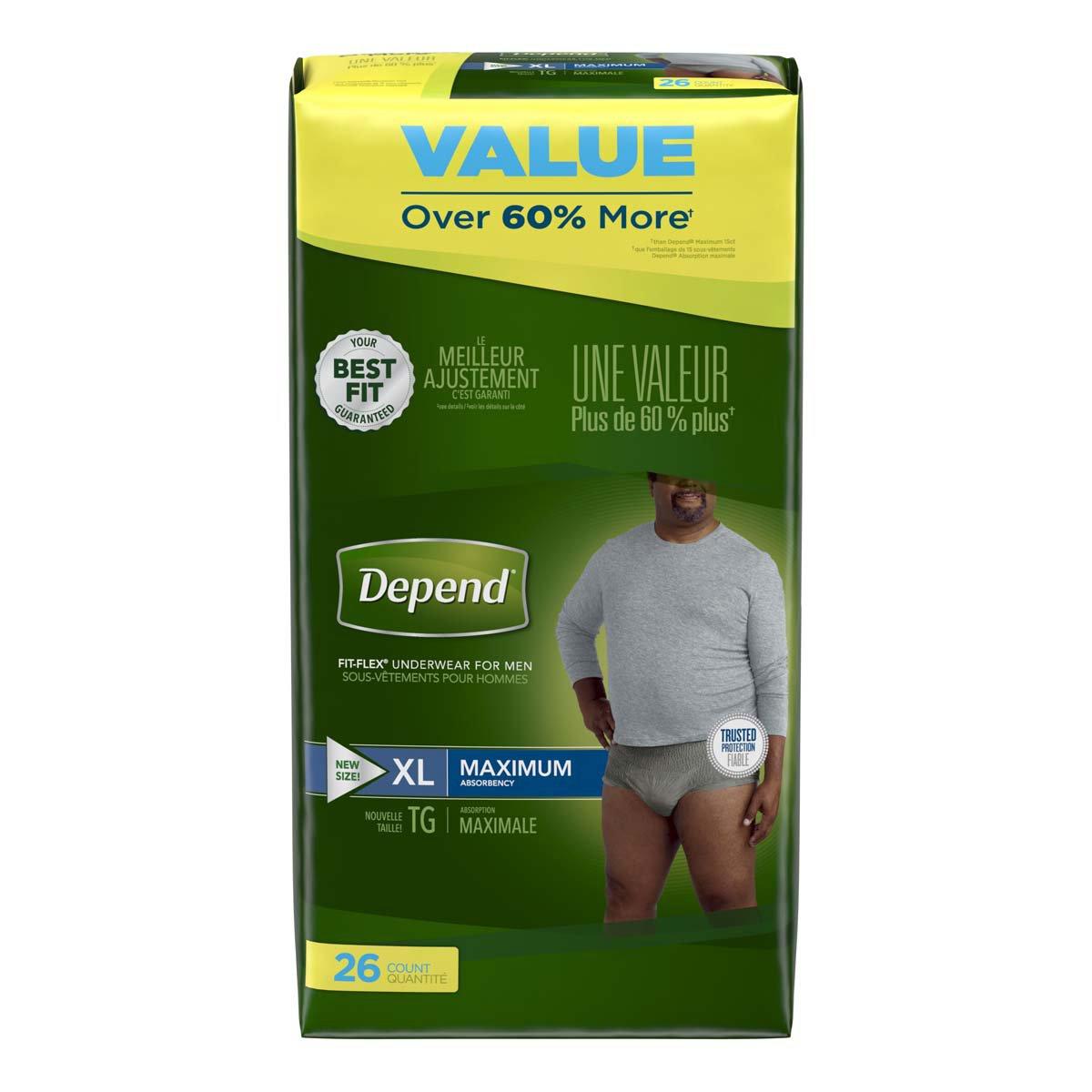 Depend FIT-FLEX Adult Underwear Pull On X-Large Disposable Heavy Absorbency, 47933 - Pack of 28