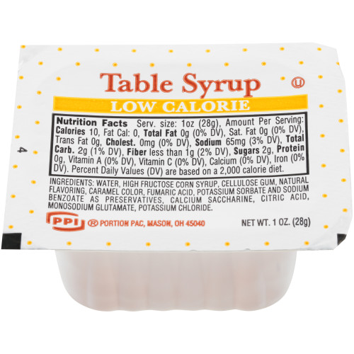 PPI Single Serve Low Calorie Table Syrup, 1 oz. Cups (Pack of 100)