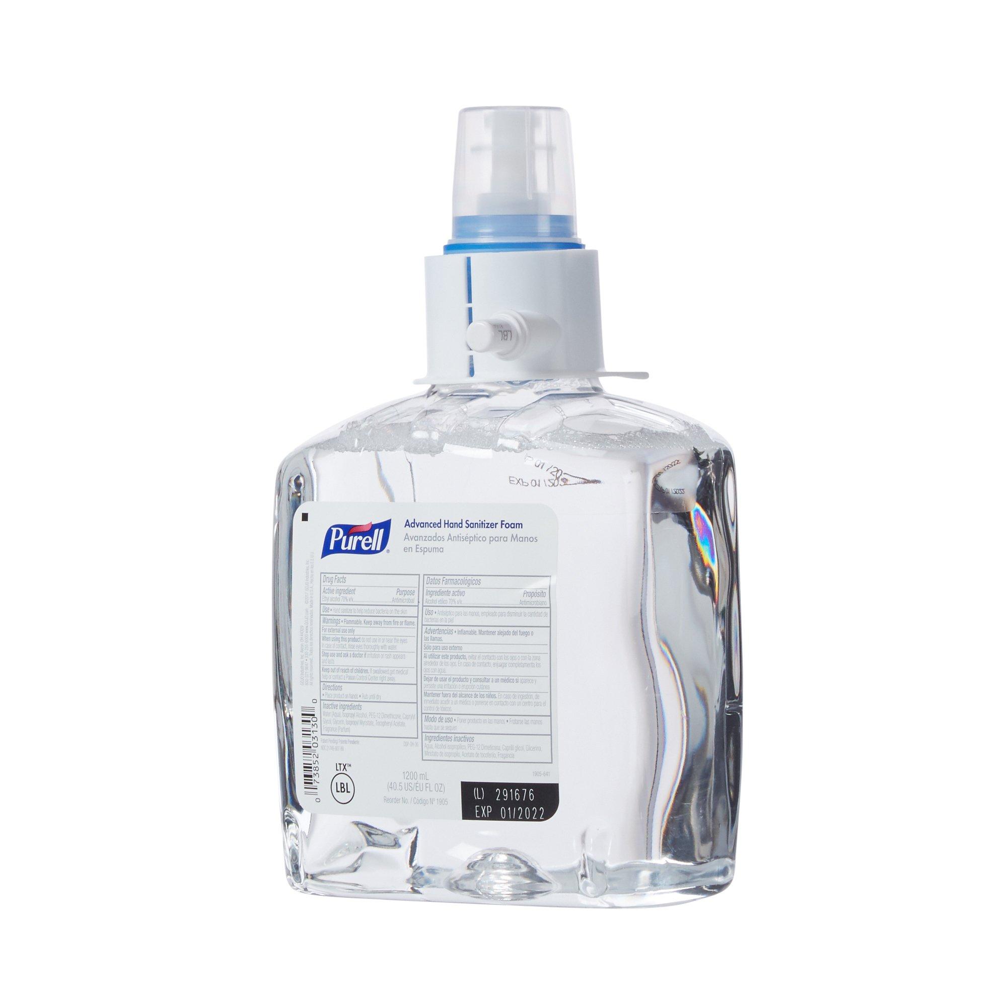 Purell Advanced Hand Sanitizer 1,200 mL Ethyl Alcohol Foaming Dispenser Refill Bottle, 1905-02 - Case of 2