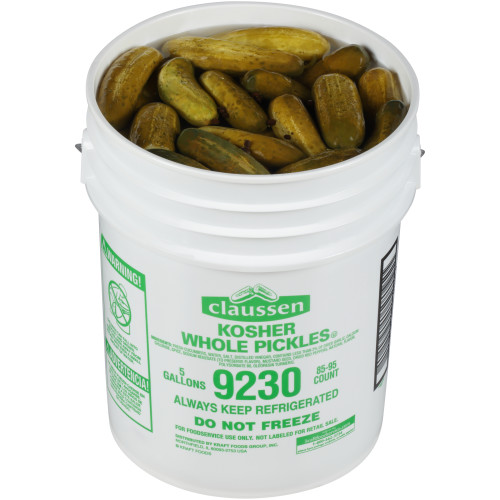 CLAUSSEN Whole Dill Pickles, 5 gal. Pail, 85-95 Count
