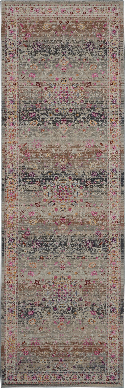 Nourison Vintage Kashan 8' Runner Grey Multicolor Oushak Area Rug