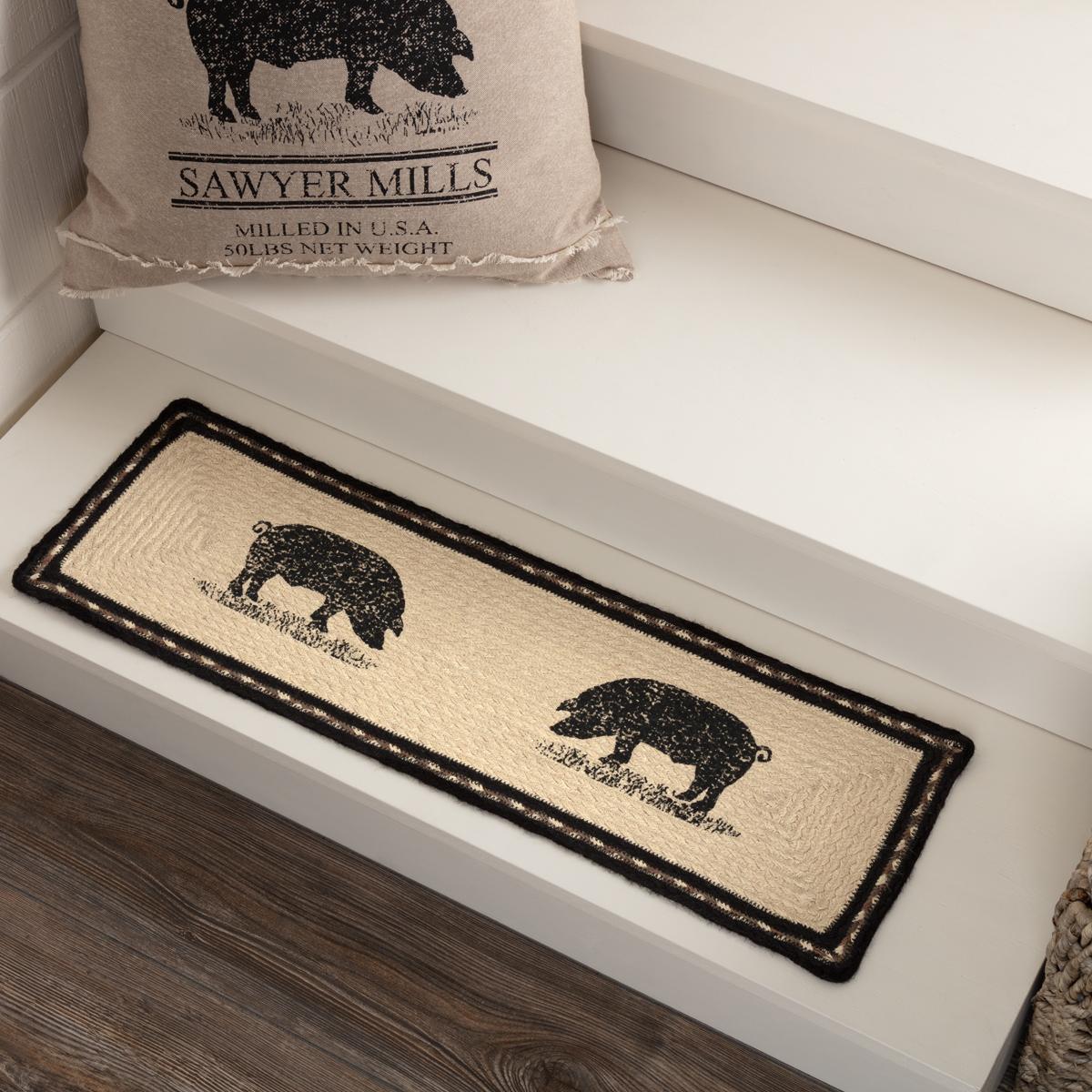 Sawyer Mill Charcoal Pig Jute Stair Tread Rect Latex 8.5x27