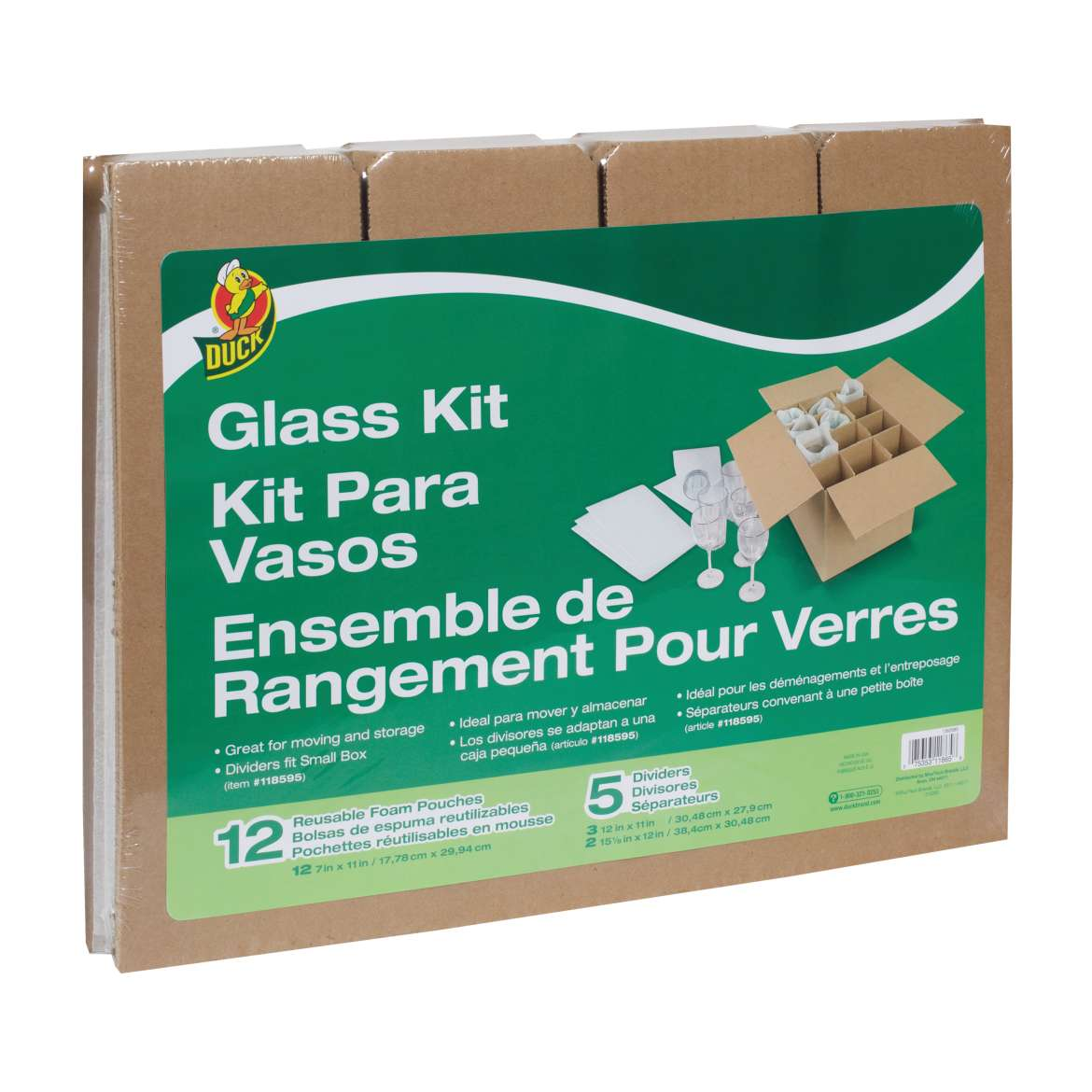 Duck® Brand Glass Kit, 5 Corrugate Dividers & 12 Foam Pouches (Box Not Included) Image