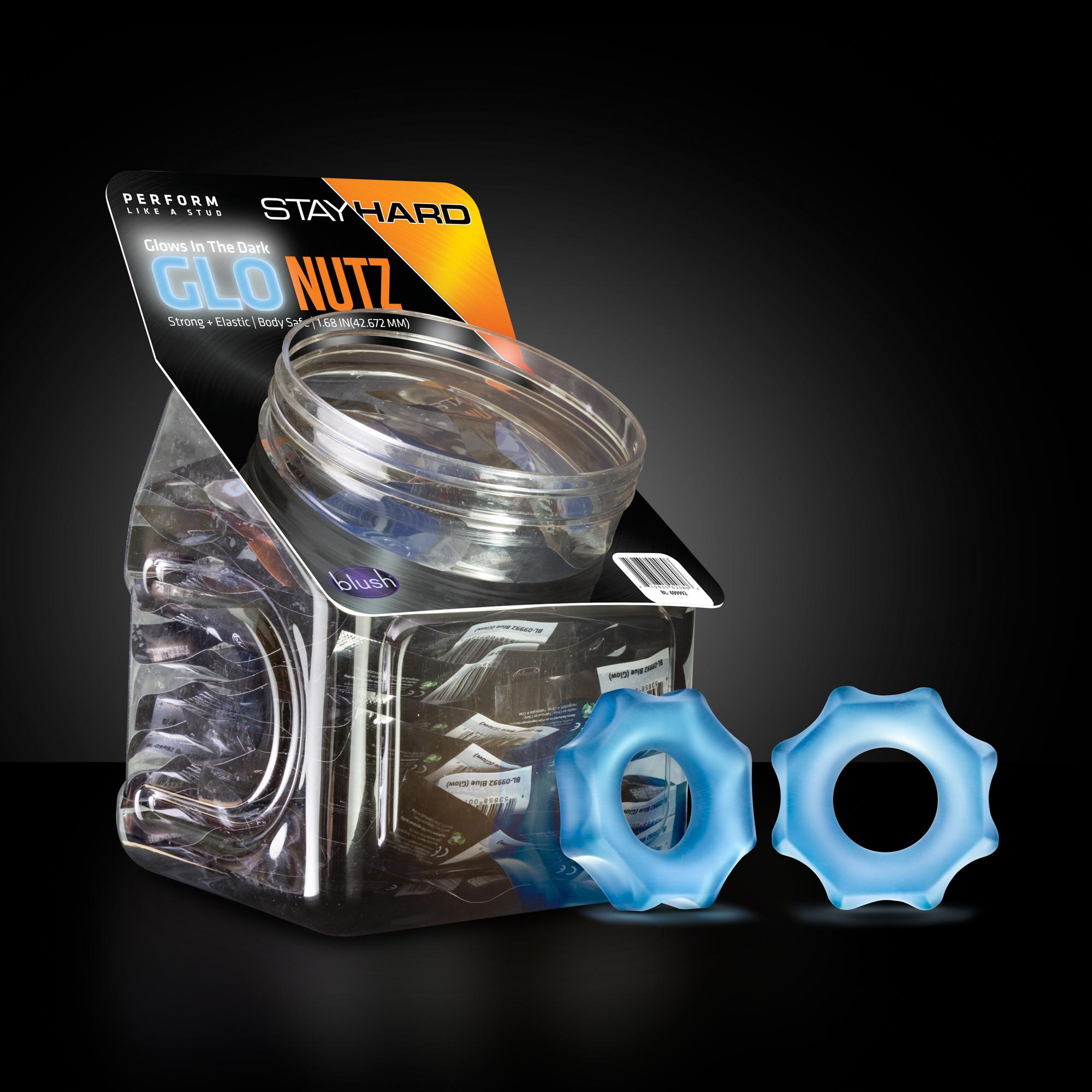 Stay Hard - Glo Nutz 40 Piece Fishbowl - Blue
