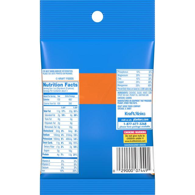 PLANTERS Honey Roasted Cashews 3 oz Bag