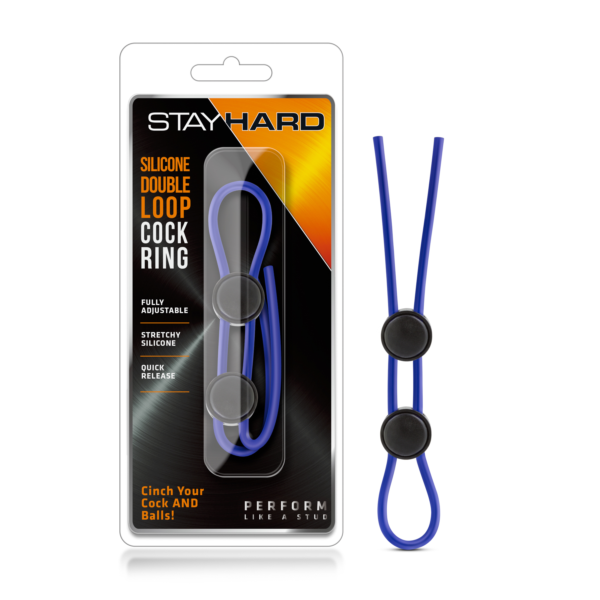 Stay Hard - Silicone Double Loop Cock Ring - Blue