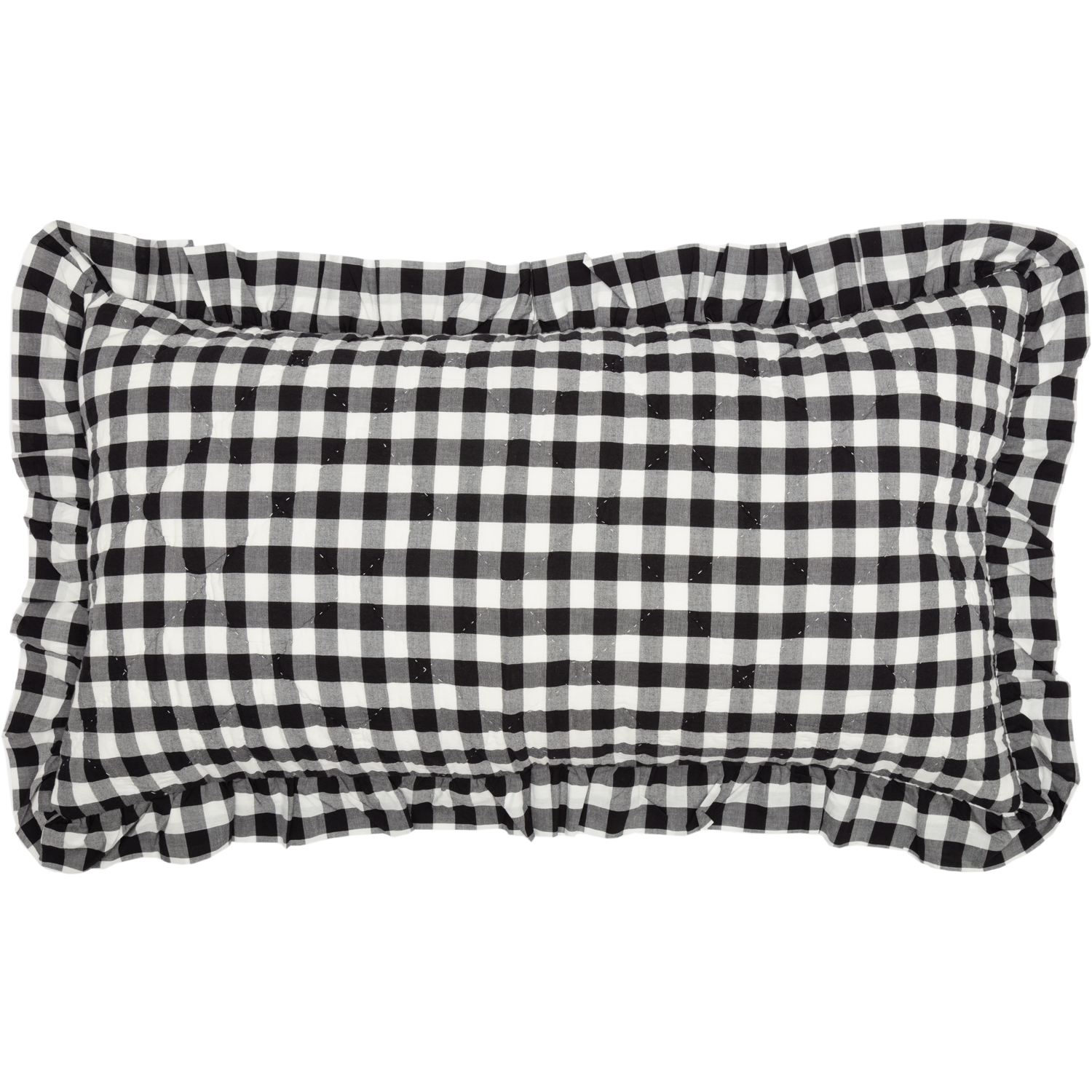 Annie Buffalo Black Check Ruffled King Sham 21x37