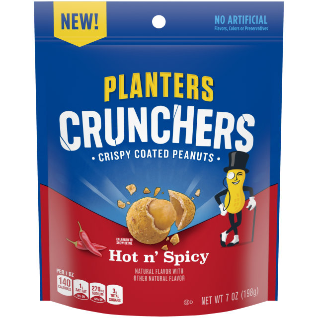 Planters Crunchers Snack Nuts Hot N' Spicy 7 oz Bag image