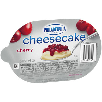 Philadelphia Cherry Cheesecake Refrigerated Snacks 3.3 oz Cup