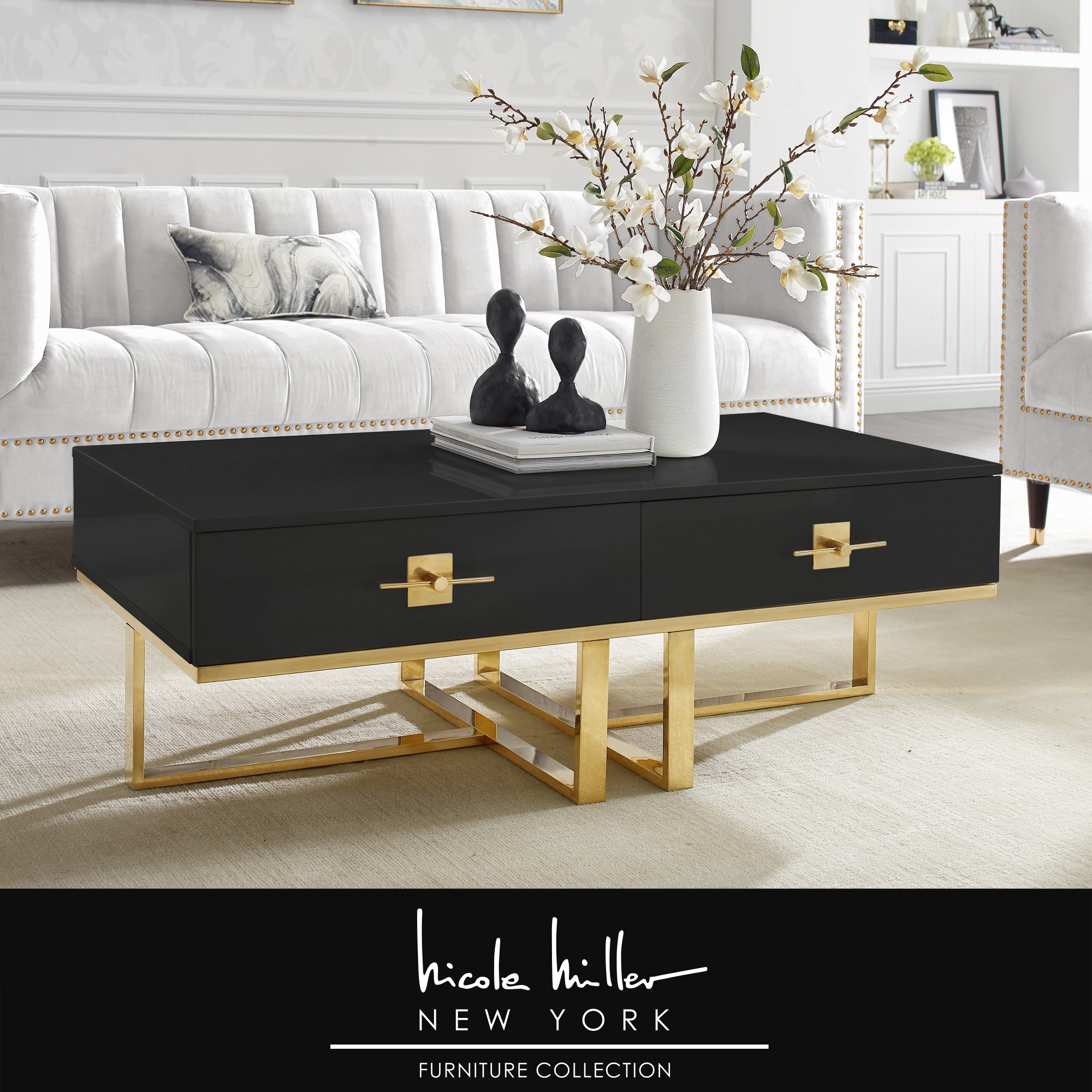 Nicole Miller Black/Gold Coffee Table 2 Drawers Hight Gloss Lacquer Finish