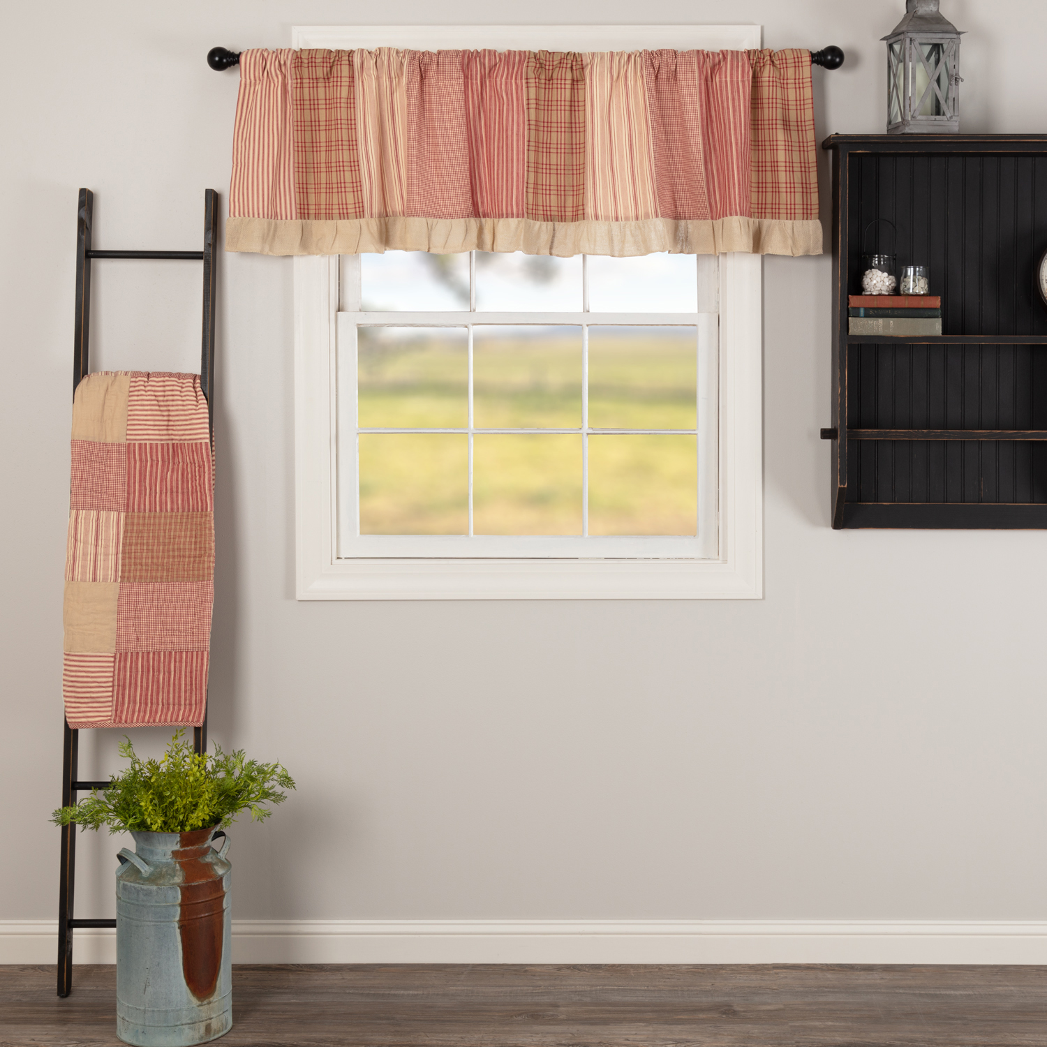 Sawyer Mill Red Patchwork Valance 19x72