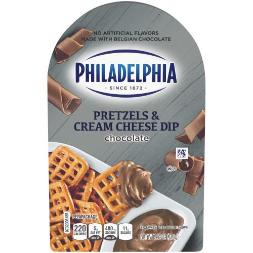 PHILADELPHIA Pretzels & Chocolate Cream Cheese Dip, 2.53 oz. Tray (Pack of 10)