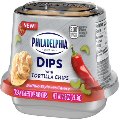 Philadelphia Dips Buffalo Style with Celery Cream Cheese Dip with Tortilla Chips, 2.8 oz Cup