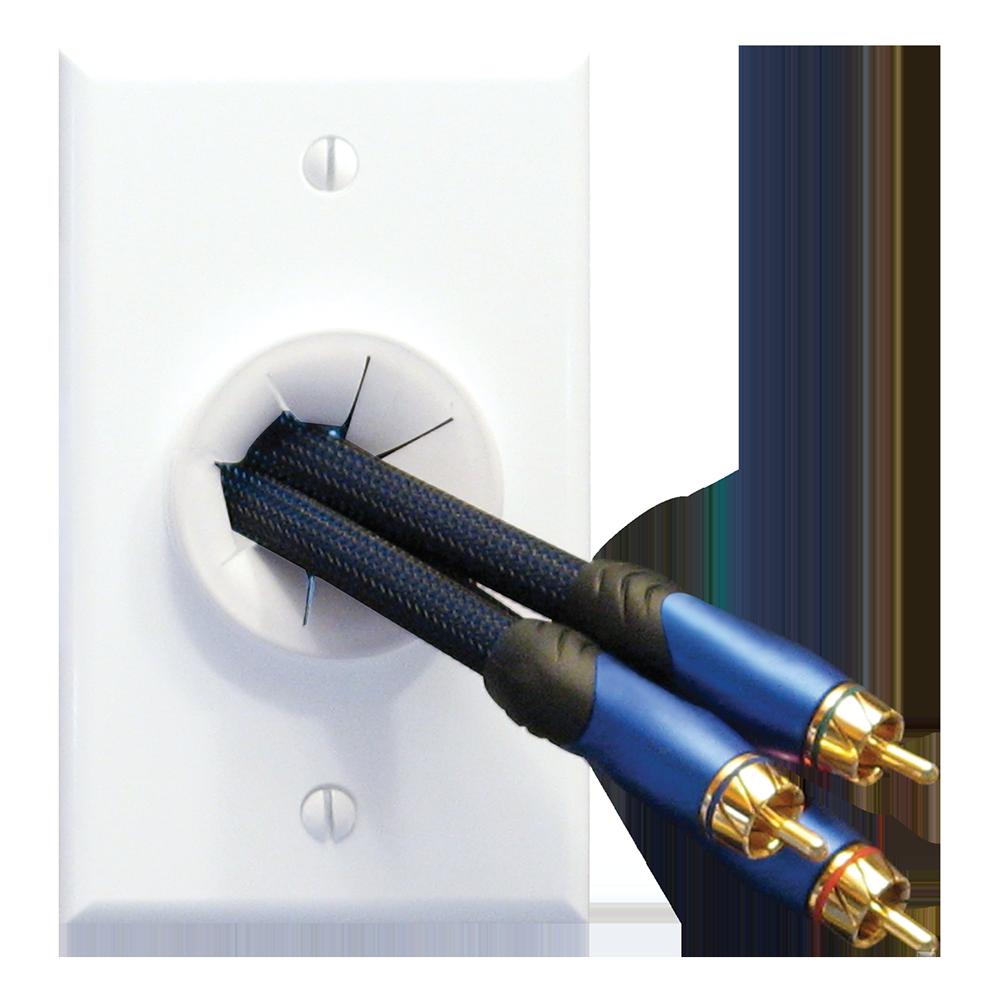 Single-G White Wireport Grommet Wave Electronics