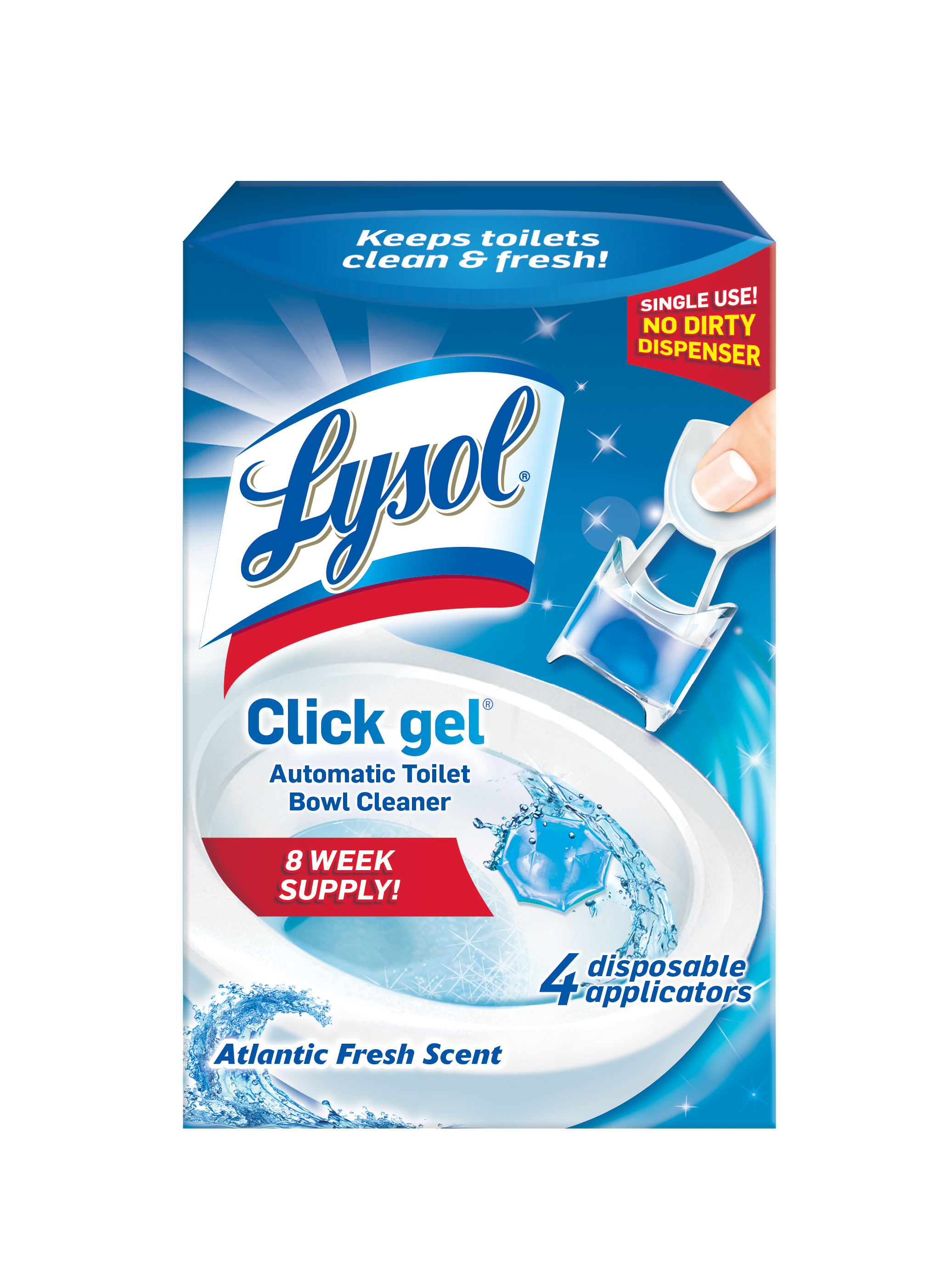 Lysol Click Gel Automatic Toilet Bowl Cleaner, Ocean Fresh Scent, 4ct