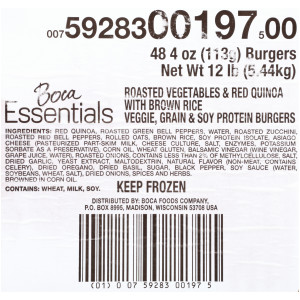 Boca Essentials Roasted Vegetable Quinoa Burger, 4 oz. image