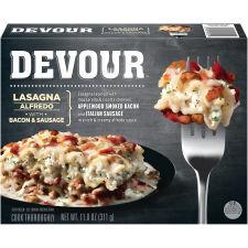 DEVOUR Lasagna Alfredo with Bacon & Sausage Frozen Meal, 11 oz Box
