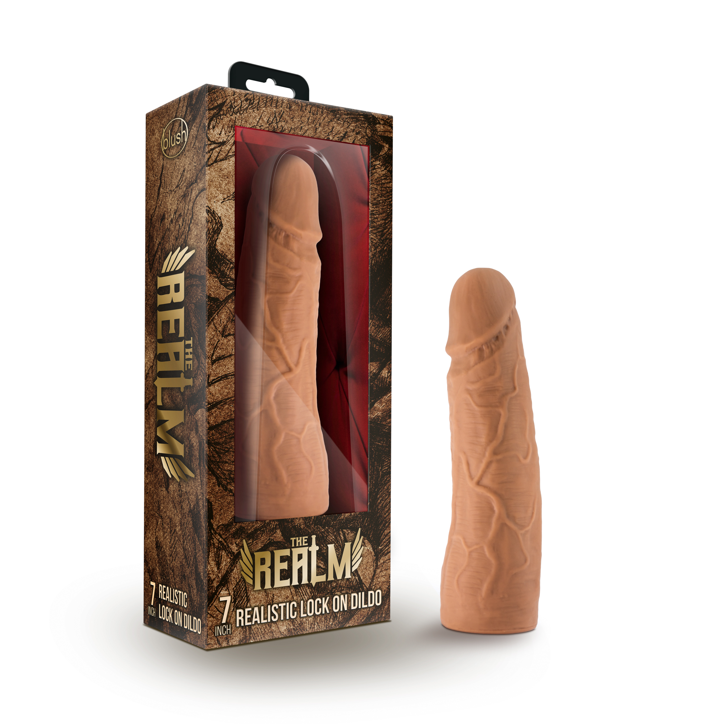 The Realm - Realistic 7 Inch Lock On Dildo - Mocha