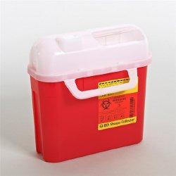 Becton Dickinson Sharps Container 1-Piece 10-3/4 H X 10-3/4 W X 4D Inch 5 Quart Red Horizontal Entry Lid, 305443 - EACH