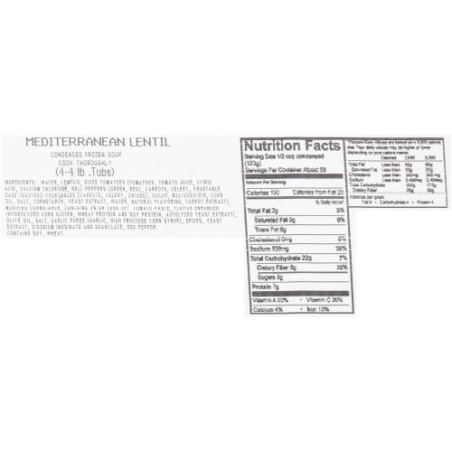 HEINZ CHEF FRANCISCO Mediterranean Lentil Soup, 4 lb. Tub (Pack of 4)