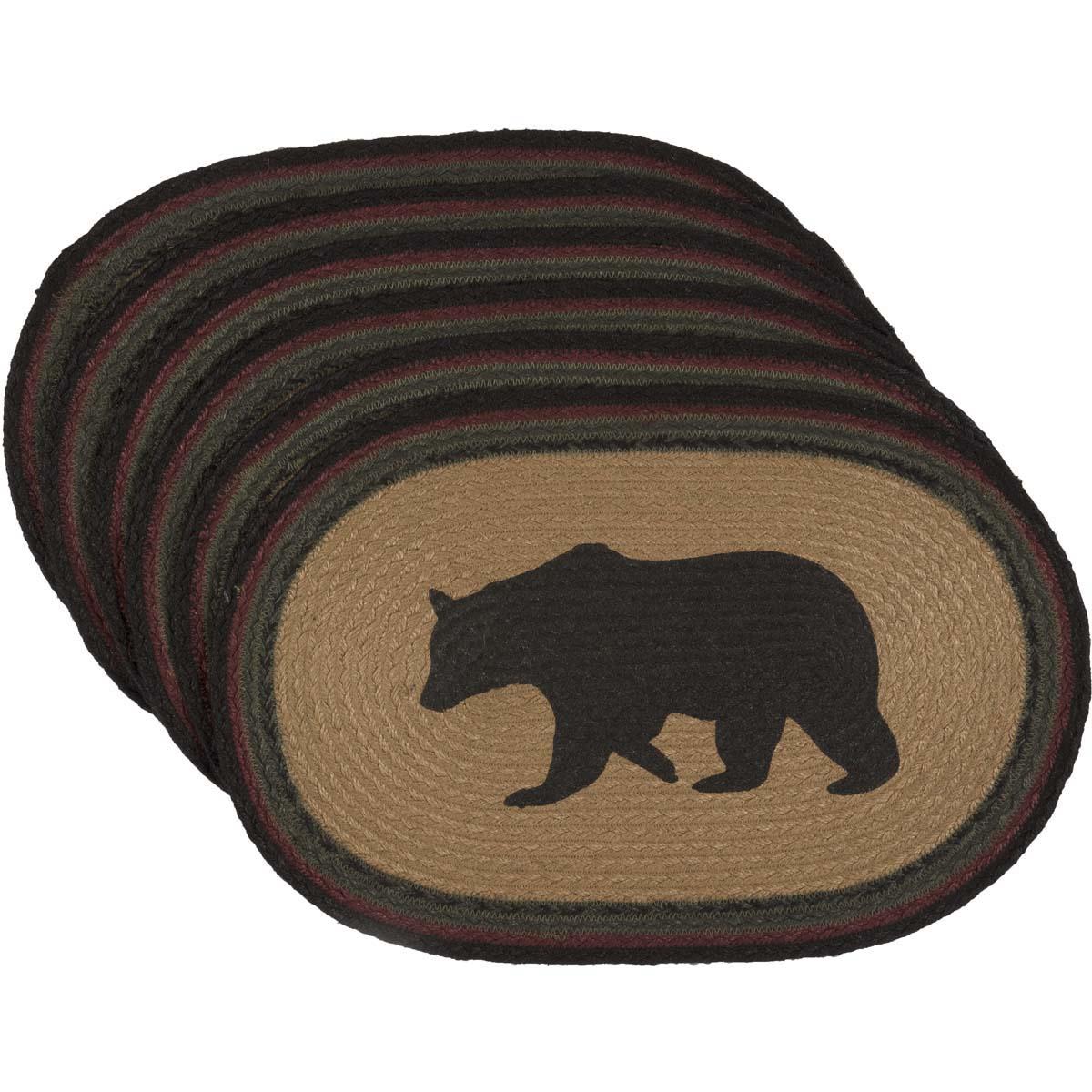 Wyatt Stenciled Bear Jute Placemat Oval Set of 6 12x18