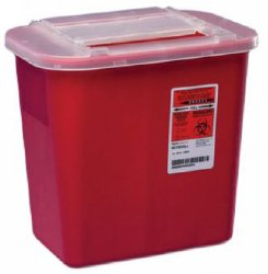 Sharps Container, Sharps-A-Gator 10-1/4 H X 7 D X 10-1/2 W Inch 2 Gallon Red Sliding Lid, 31142222 - EACH