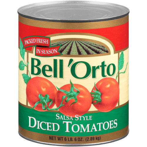 BELL ORTO Salsa Style Diced Tomato, 102 oz. Can (Pack of 6)