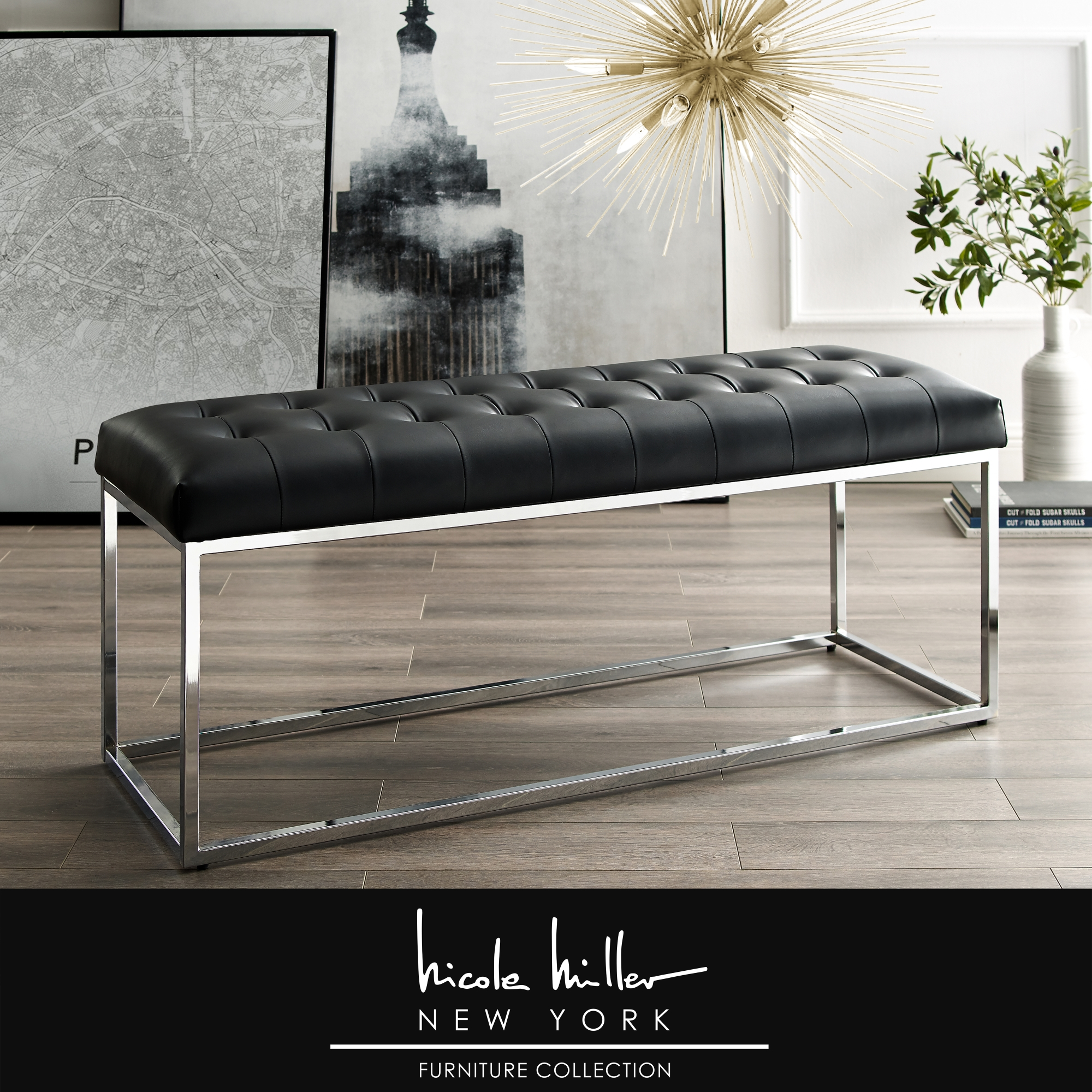 Nicole Miller Black/Chrome PU Leather Bench Upholstered Button Tufted