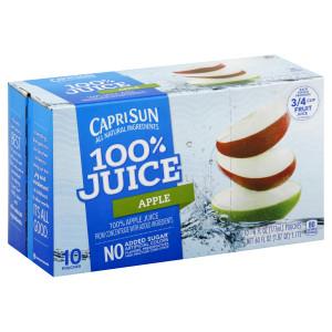 CAPRI SUN 100% Juice Apple Pouch, 6 oz. Pouches (Pack of 40) image