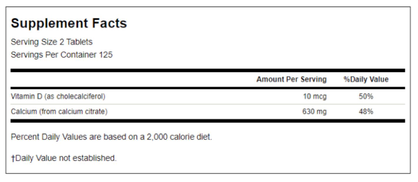 Calcium Citrate & Vitamin D