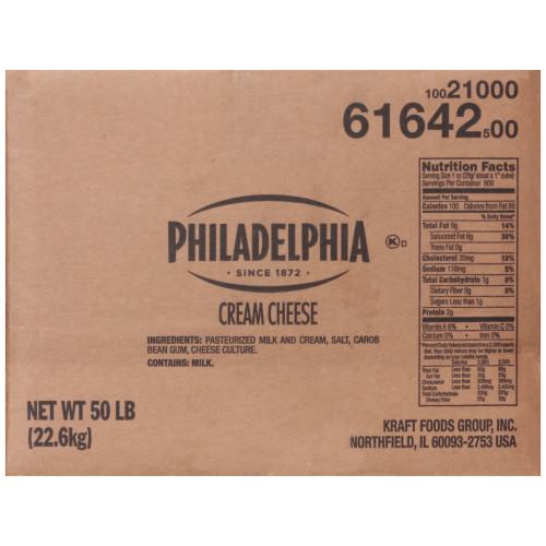PHILADELPHIA Original Cream Cheese, 50 lb. Carton (Pack of 1)