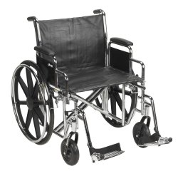 Wheelchair, McKesson, Dual Axle Desk Length Arm Padded, Removable Arm Style Composite Wheel Black 22 Inch Seat Width 450 lbs. Weight Capacity, 146-STD22ECDDA-SF - EACH