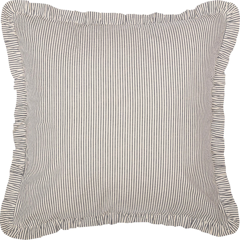 Hatteras Seersucker Blue Ticking Stripe Fabric Euro Sham 26x26