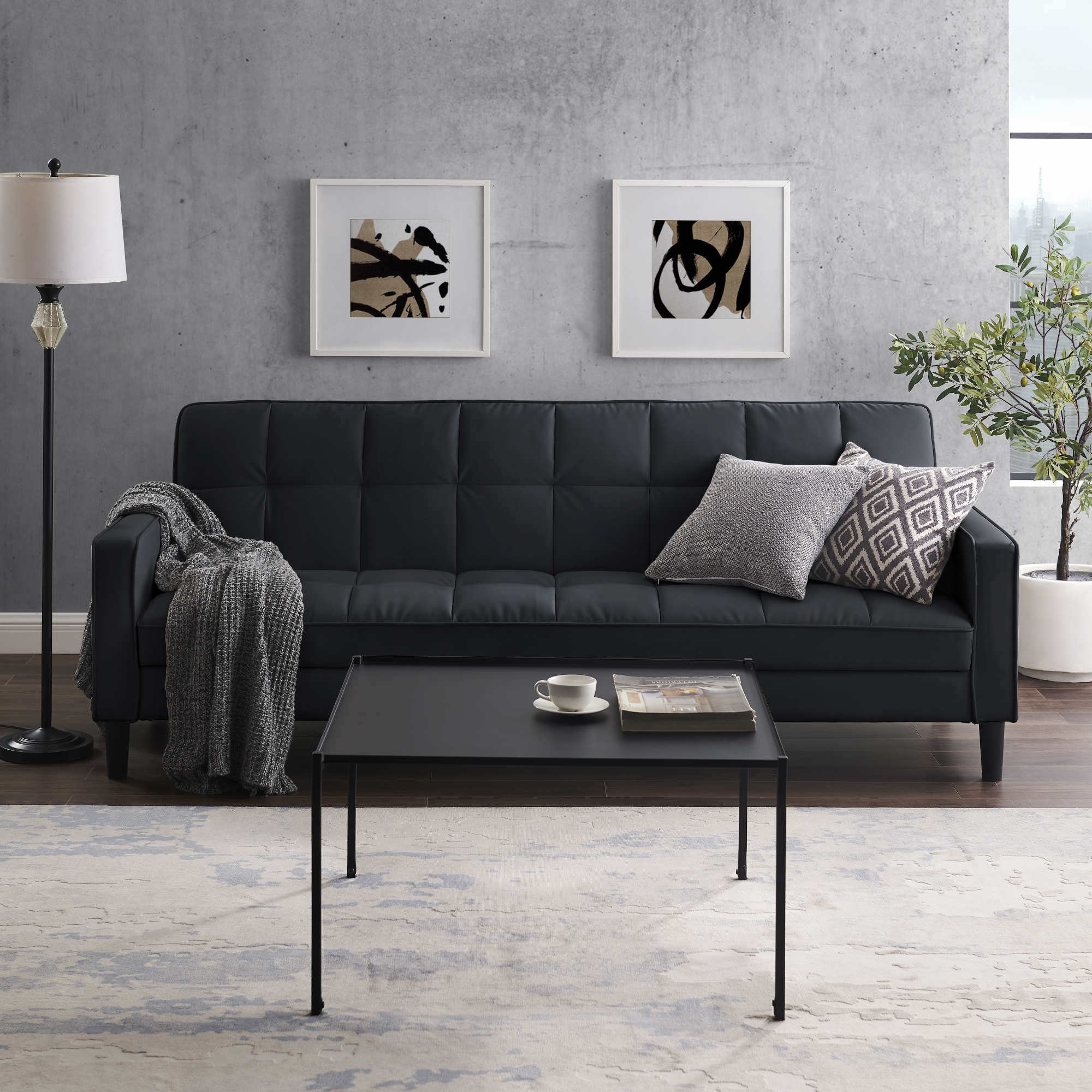 Loft Lyfe Black Leather Pu Sofa Bed Convertible Tufted