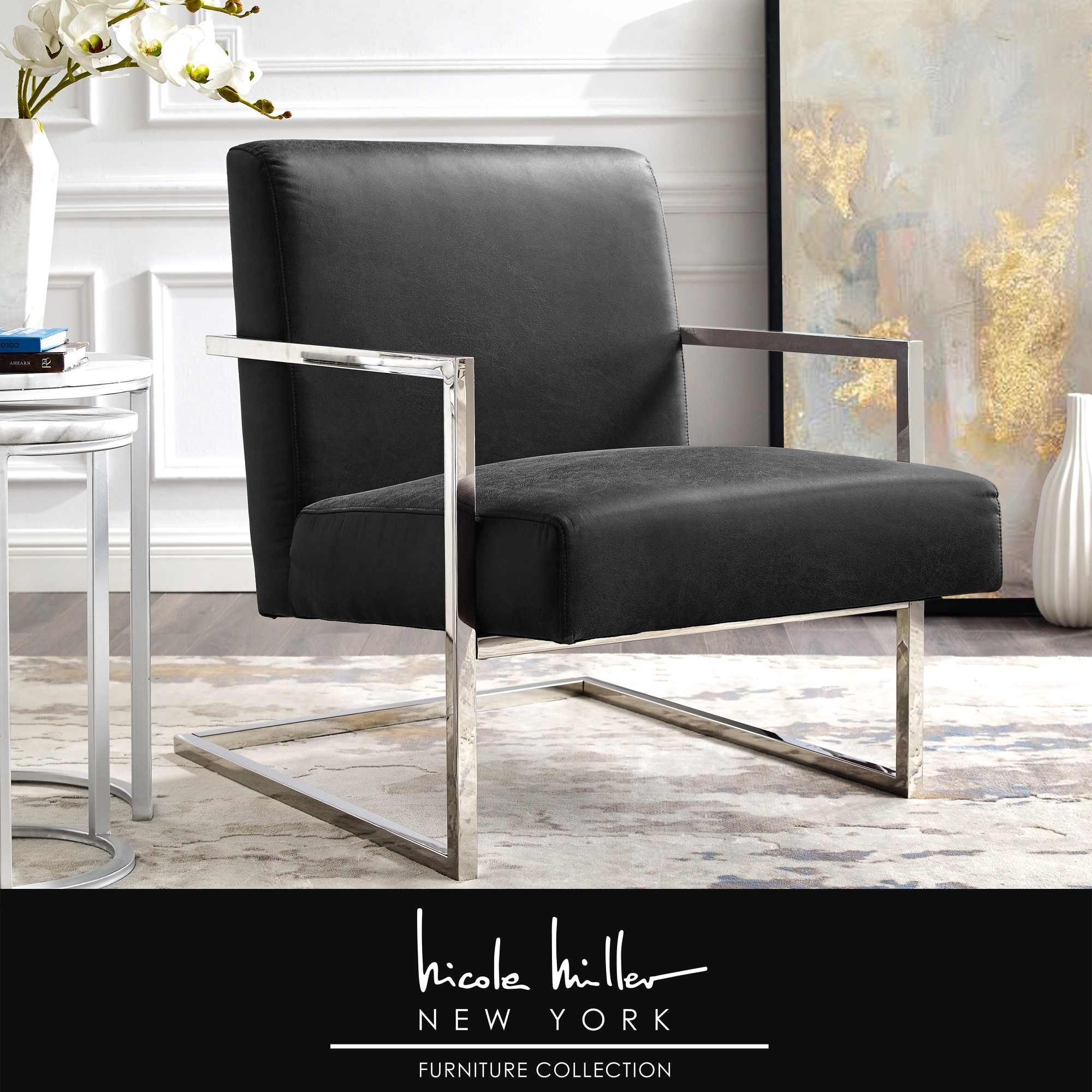 Nicole Miller Charcoal/Chrome PU Leather Accent Chair Square Arm Stainless Steel Frame