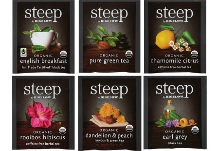 6 foil overwrapped Assortment of steep by Bigelow teas