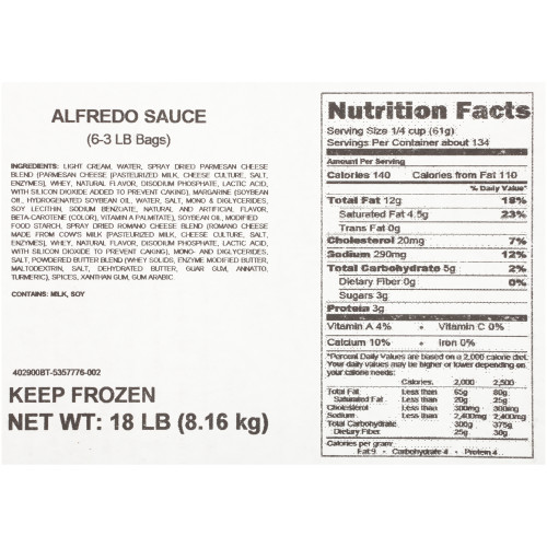 QUALITY CHEF Deluxe Alfredo Sauce, 3 lb. Frozen Bag (Pack of 6)