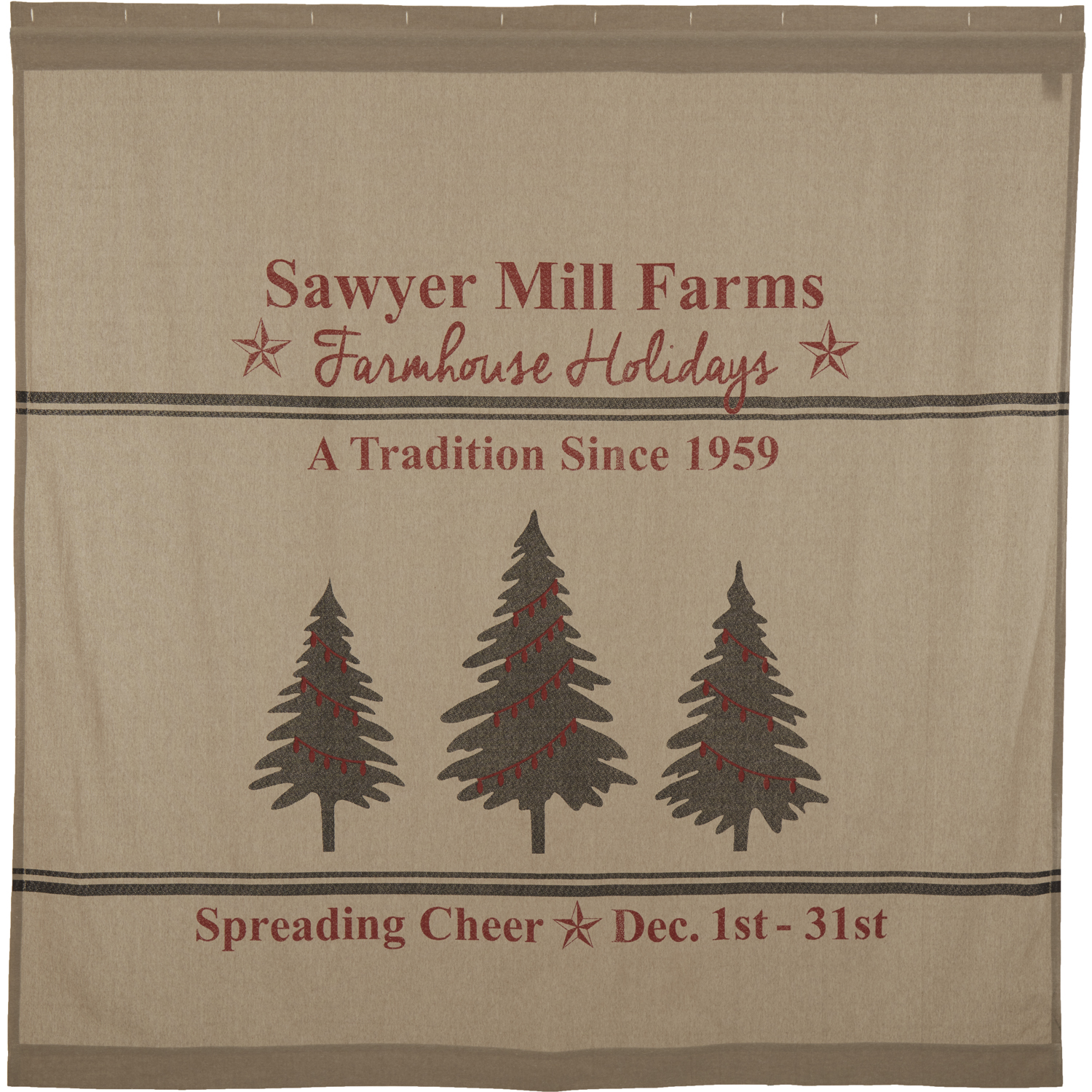 Sawyer Mill Holiday Tree Shower Curtain 72x72