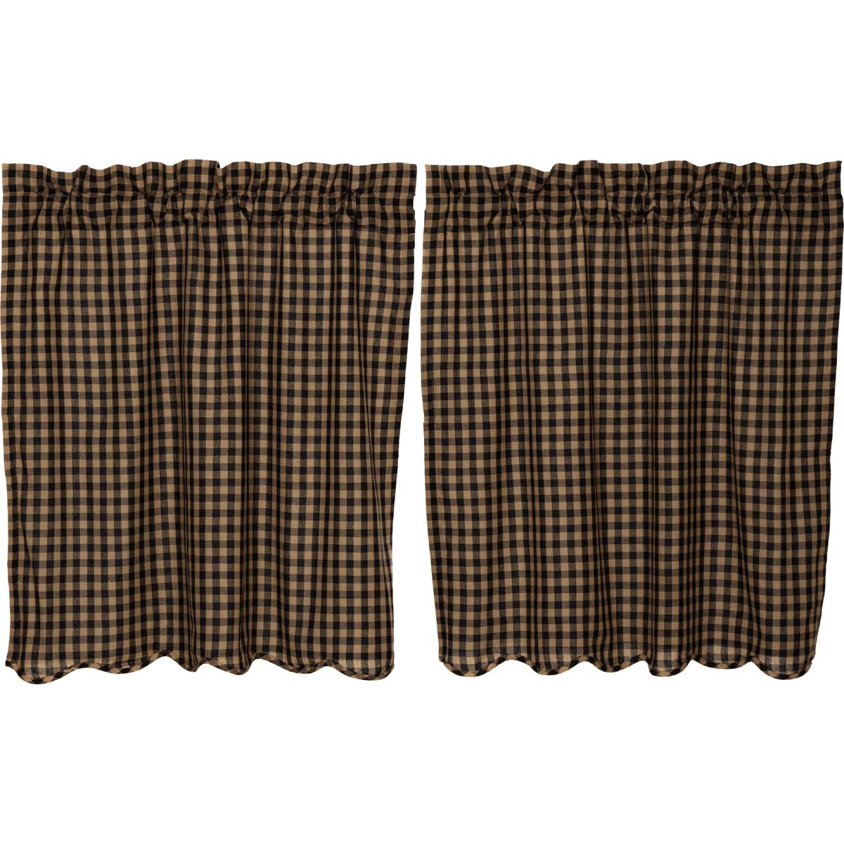 Black Check Scalloped Tier Set of 2 L36xW36