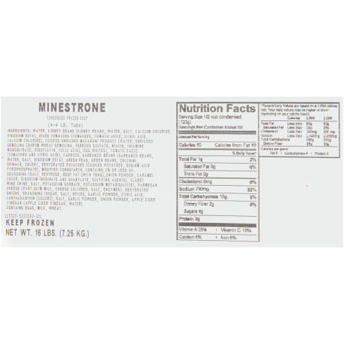HEINZ CHEF FRANCISCO Minestrone Soup, 4 lb. Tub (Pack of 4)